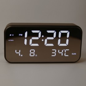Jam Alarm Digital dengan Sensor Temperature + Calender + Mirror - 8801 - Black - 2