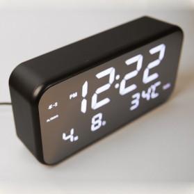 Jam Alarm Digital dengan Sensor Temperature + Calender + Mirror - 8801 - Black - 3