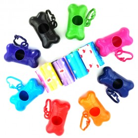 Bone Dispenser Anjing dengan Plastik Pet Dog Waste Poop Bags - Mix Color