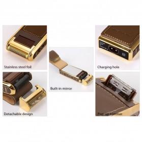 Kemei Alat Cukur Elektrik Leather Wrapped Electric Shaver - KM-5500 - Golden - 2