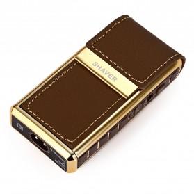 Kemei Alat Cukur Elektrik Leather Wrapped Electric Shaver - KM-5500 - Golden - 7