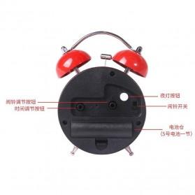 Jam Weker Twin Bell Alarm Meja Klasik Display Cartoon - SSN02 - Black - 3