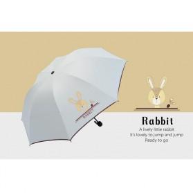 Payung Lipat Print Kartun Hewan Kelinci / Rabbit - YS067 - White - 2