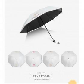 Payung Lipat Print Kartun Hewan Kelinci / Rabbit - YS067 - White - 5