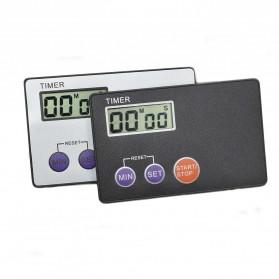 Mini Timer Digital Dapur Pocket Credit Card Kitchen Countdown - BK-335 - Black