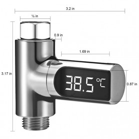 ZhiNuan Shower Thermometer Flow LED Display Shower Mandi - BD-LS-01 - Silver - 4
