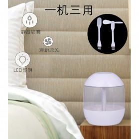 Air Humidifier Aromatherapy + Lampu LED + Kipas USB Portable - USB-031 - White