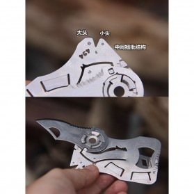 EDCGEAR Wolf Pisau Lipat Kartu Multifungsi Hidden Portable Knife Credit Card Survival Tool - A3013 - Silver - 3