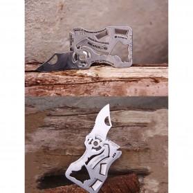 EDCGEAR Wolf Pisau Lipat Kartu Multifungsi Hidden Portable Knife Credit Card Survival Tool - A3013 - Silver - 5
