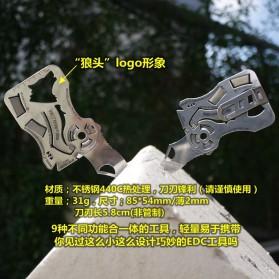 EDCGEAR Wolf Pisau Lipat Kartu Multifungsi Hidden Portable Knife Credit Card Survival Tool - A3013 - Silver - 8