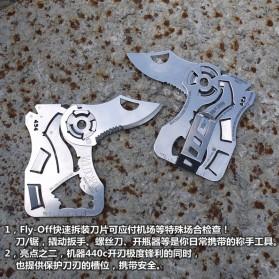 EDCGEAR Wolf Pisau Lipat Kartu Multifungsi Hidden Portable Knife Credit Card Survival Tool - A3013 - Silver - 10