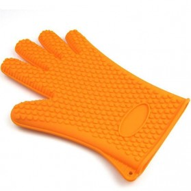 Sarung Tangan Silikon Anti Panas Heat Resistance Kitchen Glove 1 Pcs - FGS - Orange