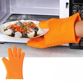 Sarung Tangan Silikon Anti Panas Heat Resistance Kitchen Glove 1 Pcs - FGS - Orange - 2