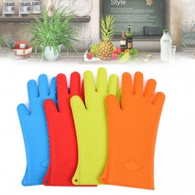 Sarung Tangan Silikon Anti Panas Heat Resistance Kitchen Glove 1 Pcs - FGS - Orange - 6