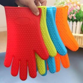 Sarung Tangan Silikon Anti Panas Heat Resistance Kitchen Glove 1 Pcs - FGS - Orange - 7