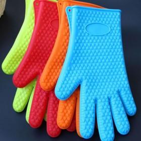 Sarung Tangan Silikon Anti Panas Heat Resistance Kitchen Glove 1 Pcs - FGS - Orange - 8