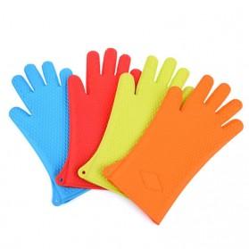 Sarung Tangan Silikon Anti Panas Heat Resistance Kitchen Glove 1 Pcs - FGS - Orange - 9