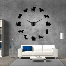 Jam Dinding Besar DIY Giant Wall Clock Quartz Creative Design 120cm Model Puppy Dog - DIY-206 - Black