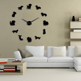 Jam Dinding Besar DIY Giant Wall Clock Quartz Creative Design 120cm Model Puppy Dog - DIY-206 - Black - 2