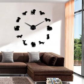 Jam Dinding Besar DIY Giant Wall Clock Quartz Creative Design 120cm Model Puppy Dog - DIY-206 - Black - 3