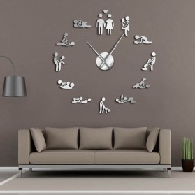 Jam Dinding Besar DIY Giant Wall Clock Quartz Creative Design 120cm Model Kamasutra - DIY-207 - Silver
