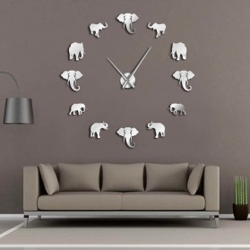 Jam Dinding Besar DIY Giant Wall Clock Quartz Creative Design 120cm Model Elephant - DIY-208 - Silver