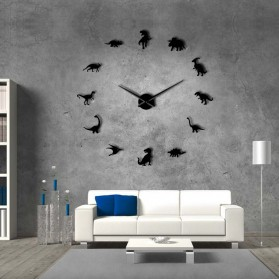 Jam Dinding Besar DIY Giant Wall Clock Quartz Creative Design 120cm Model Dinosaurs - DIY-209 - Black