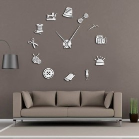 Jam Dinding Besar DIY Giant Wall Clock Quartz Creative Design 120cm Model Sewing Tools - DIY-210 - Black