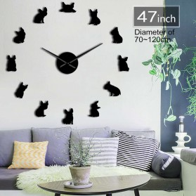 Jam Dinding Besar DIY Giant Wall Clock Quartz Creative Design 120cm Model French Bulldog - DIY-211 - Black