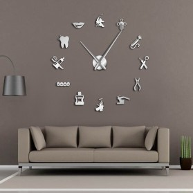 Jam Dinding Besar DIY Giant Wall Clock Quartz Creative Design 120cm Model Dental Doctor - DIY-212 - Silver