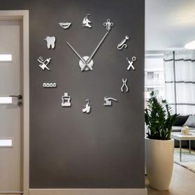 Jam Dinding Besar DIY Giant Wall Clock Quartz Creative Design 120cm Model Dental Doctor - DIY-212 - Silver - 2
