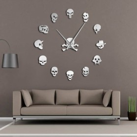 Jam Dinding Besar DIY Giant Wall Clock Quartz Creative Design 120cm Model Head Skull - DIY-213 - Silver