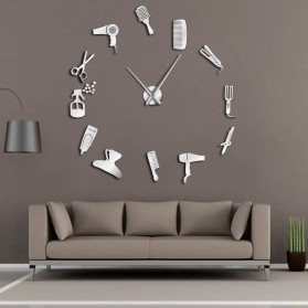 Jam Dinding Besar DIY Giant Wall Clock Quartz Creative Design 120cm Model Barber Shop - DIY-214 - Silver
