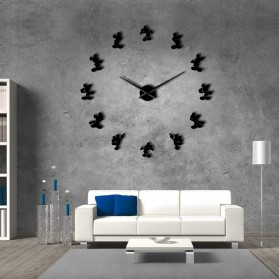 Jam Dinding Besar DIY Giant Wall Clock Quartz Creative Design 120cm Model Mickey Mouse - DIY-215 - Black
