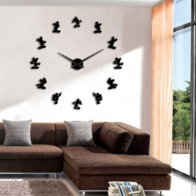 Jam Dinding Besar DIY Giant Wall Clock Quartz Creative Design 120cm Model Mickey Mouse - DIY-215 - Black - 3