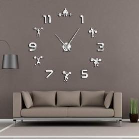 Jam Dinding Besar DIY Giant Wall Clock Quartz Creative Design 120cm Model Weightlifting - DIY-216 - Silver