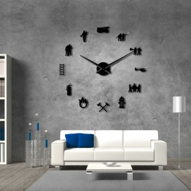 Jam Dinding Besar DIY Giant Wall Clock Quartz Creative Design 120cm Model Firefighter - DIY-217 - Black