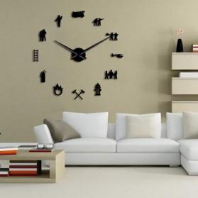 Jam Dinding Besar DIY Giant Wall Clock Quartz Creative Design 120cm Model Firefighter - DIY-217 - Black - 2