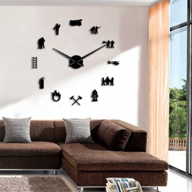 Jam Dinding Besar DIY Giant Wall Clock Quartz Creative Design 120cm Model Firefighter - DIY-217 - Black - 3