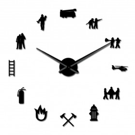Jam Dinding Besar DIY Giant Wall Clock Quartz Creative Design 120cm Model Firefighter - DIY-217 - Black - 4