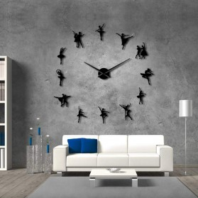 Jam Dinding Besar DIY Giant Wall Clock Quartz Creative Design 120cm Model Ballet Dancer - DIY-218 - Black