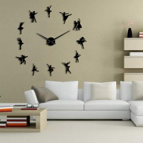 Jam Dinding Besar DIY Giant Wall Clock Quartz Creative Design 120cm Model Ballet Dancer - DIY-218 - Black - 2