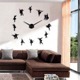 Jam Dinding Besar DIY Giant Wall Clock Quartz Creative Design 120cm Model Ballet Dancer - DIY-218 - Black - 3