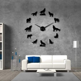 Jam Dinding Besar DIY Giant Wall Clock Quartz Creative Design 120cm Model Wolf - DIY-219 - Black