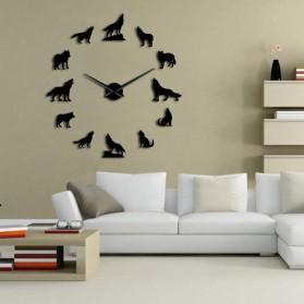 Jam Dinding Besar DIY Giant Wall Clock Quartz Creative Design 120cm Model Wolf - DIY-219 - Black - 2