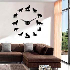 Jam Dinding Besar DIY Giant Wall Clock Quartz Creative Design 120cm Model Wolf - DIY-219 - Black - 3