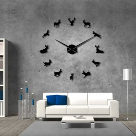 Jam Dinding Besar DIY Giant Wall Clock Quartz Creative Design 120cm Model Deer - DIY-220 - Black