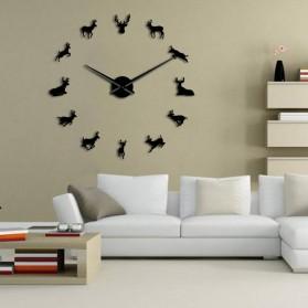 Jam Dinding Besar DIY Giant Wall Clock Quartz Creative Design 120cm Model Deer - DIY-220 - Black - 2