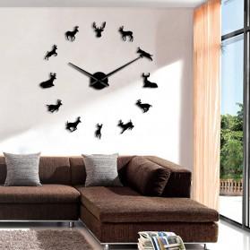Jam Dinding Besar DIY Giant Wall Clock Quartz Creative Design 120cm Model Deer - DIY-220 - Black - 3
