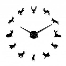 Jam Dinding Besar DIY Giant Wall Clock Quartz Creative Design 120cm Model Deer - DIY-220 - Black - 4